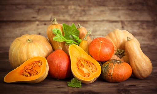 Fresh and colorful pumpkins and squashes